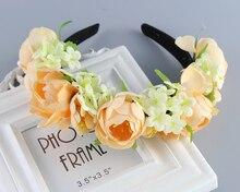 Аксессуары для волос оголовье женщин Чешские большой Цветочный цветок корона для Свадьбы Волосы Венки Ленты Для Волос цветок оголовье