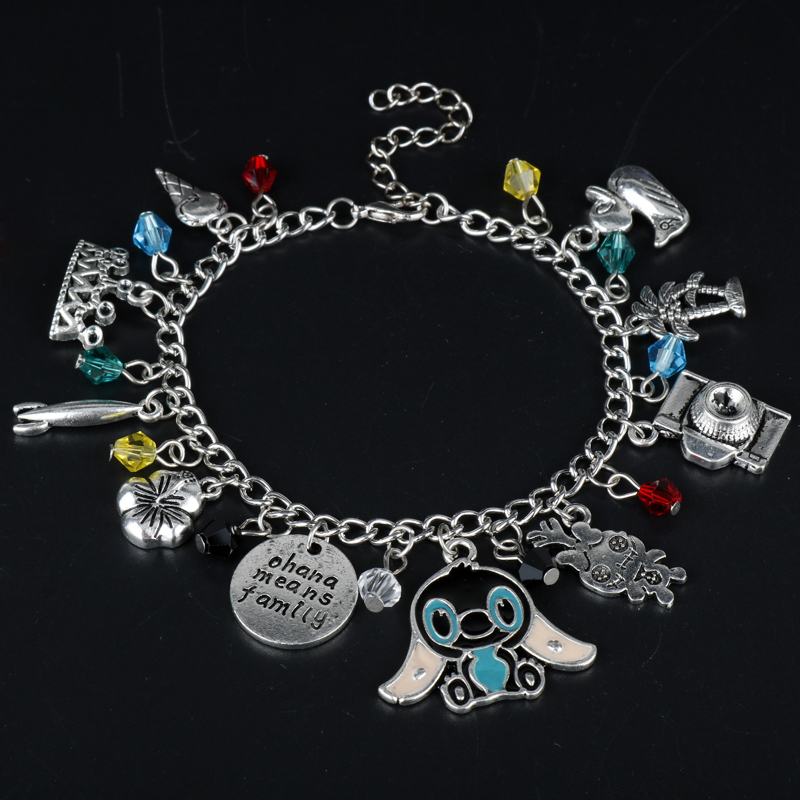 MQCHUN Women' Jewelry Lilo and Stitch Theme Multi Charms Bracelet Bangle Ohana means family Girls Christmas Cosplay Party Gift