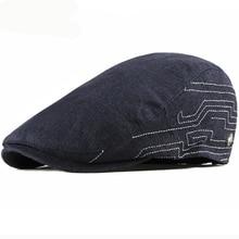 HT2443 Vintage Men Women Cap Spring Summer Breathable Sun Hat Adjustable Beret Artist Painter Newsboy Flat