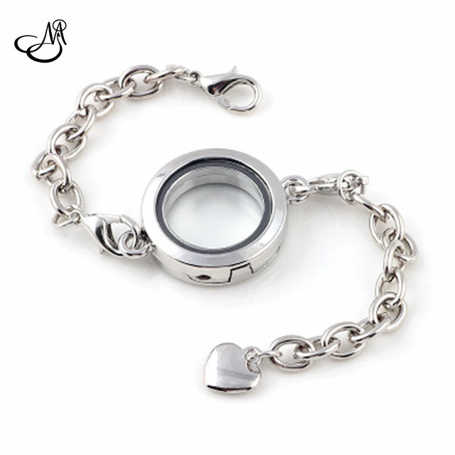 10pcs Lots Silver Round Magnetic 25mm Gl Locket Bracelet Floating Charm Living Memory Bracelets