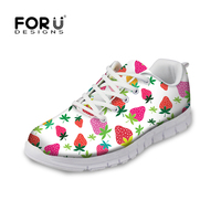 2016 Fruits Print Breathable Trainers Shoes Ladies Walking Shoes Breathable Fitness Outdoor Mesh Shoes Zapatos Mujer