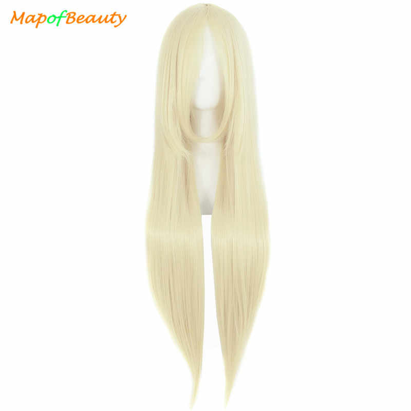 MapofBeauty Costume Cosplay Wig Heat Resistant Orange Black Gold Wigs For Women Long Straight Bangs Party Synthetic Hair