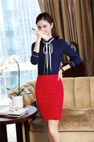 2018 New Fashion Skirt Suits With 2 Piece Tops And Skirt Uniforms Designs Work Wear Blouses & Shirts and Skirt Clothing Sets