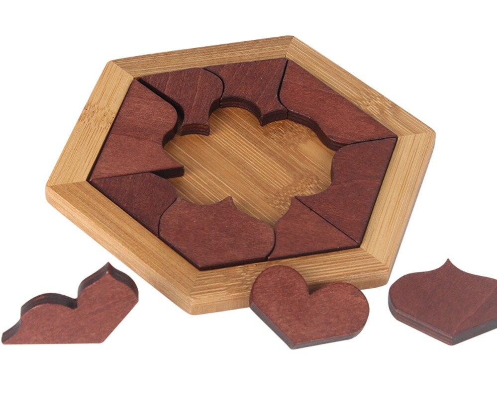B Candywood дерева в форме сердца Tangram доска для головоломки образования раннего обучения деревянные пазлы игры и игрушки для Для детей подарок