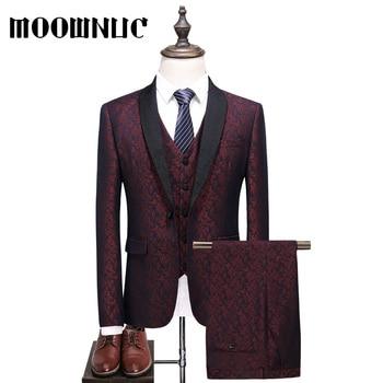 Full Dress Red 4XL 5XL MOOWNUC Suits Trousers Vest Classic MWC dress Three piece set Plaid Business Casual Men Fashion Woollen