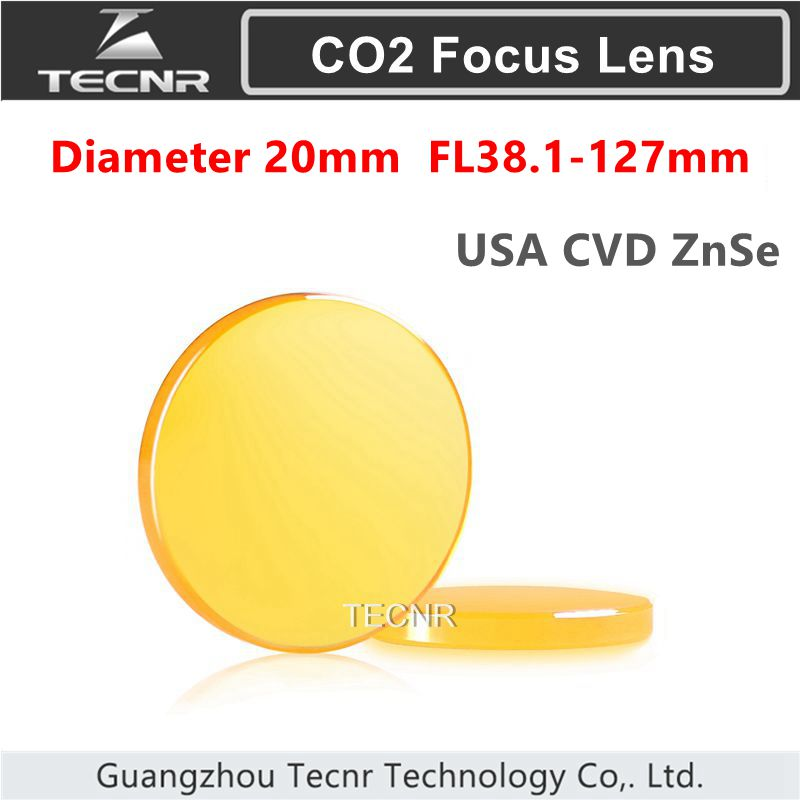 "TECNR High Quality USA ZnSe CO2 Focus Lens Diámetro 20mm FL38.1-127mm 1.5 ""- 5"" para cortador láser"