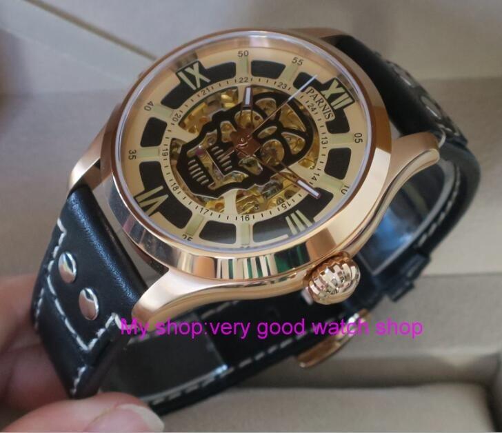 где купить 42mm Parnis Sapphire Crystal Japanese 21jewelry hollow out Automatic Self-Wind Movement luminous Mechanical watches Men's watch по лучшей цене