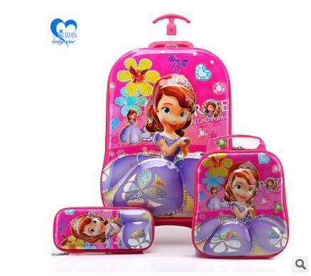 Kids Rolling Bag 6D EVA girl's Boy's trolley Bag For School Cartoon Children's Travel Wheeled School Bag With  Lunch Backpack