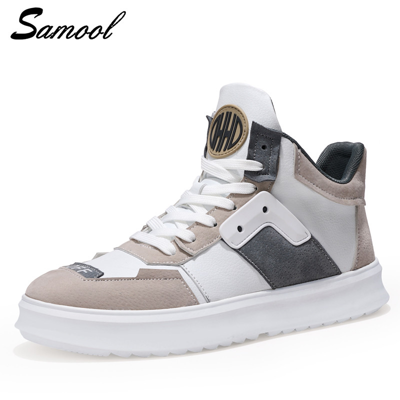 Man Boots New Design fashion Sneakers Lace -up Men Casual Boot flats Shoes for Men Leather Casual Shoes Waterproof Work Shoes y3 simple men s casual shoes with white and lace up design page 5