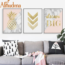 ALMUDENA Nordic Canvas Wall Art Painting Gold Flamingo Posters And Print Pineapple Picture For Living Room Decorations No Framed(China)