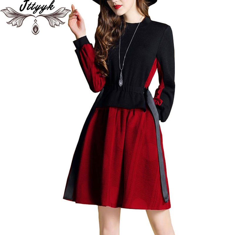Women Dress 2018 Spring New retro Long-sleeved dresses Women knit stitching elastic waist Fake two Sweater Dress vestidos CX20