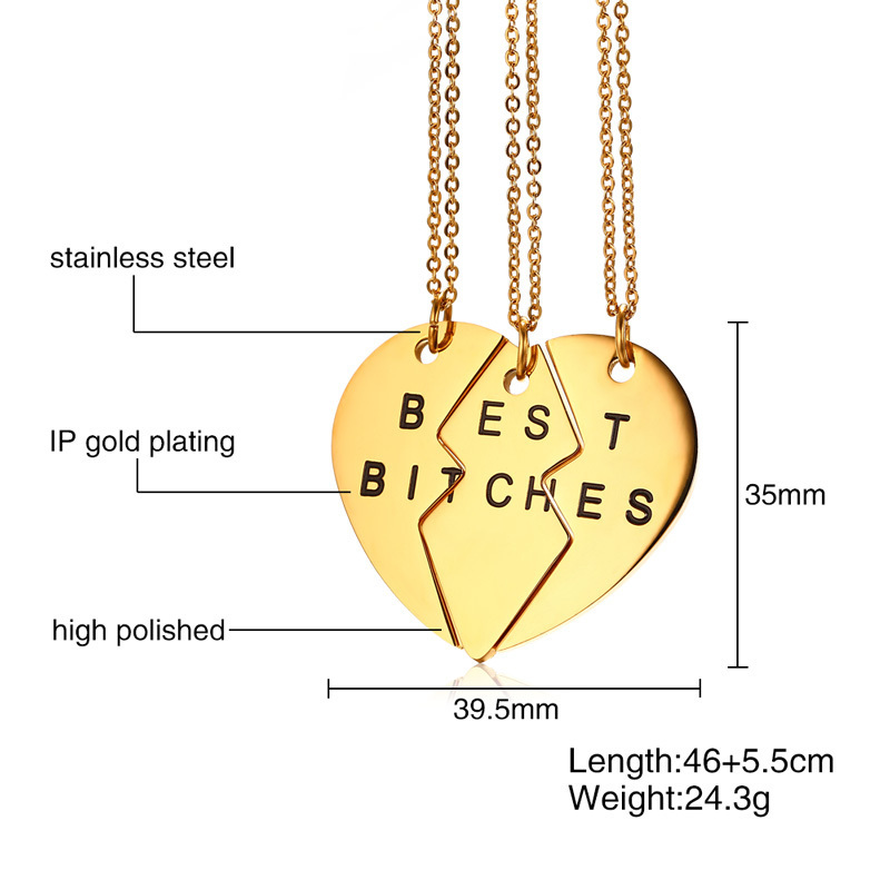 Vnox Friendship Necklace Jewelry Gold/Silver 3 Pcs Broken Heart ...