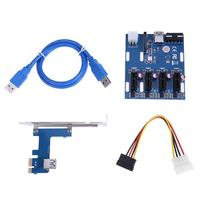 Mini ITX To External 4 PCI E Slot Adapter Multiplier Card With 6Pin Power SATA Port
