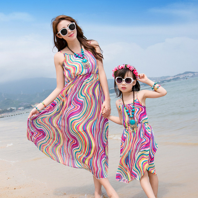 New Family Ed Summer Beach Vacation Dress Mother Daughter Dresses Whole Manufacturers