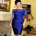 MGS Royal Blue Elegant 2017 Three Quarters Sleeve Evening Dress Sheath Applique Tulle Sheer Mother Of The Brides Dresses