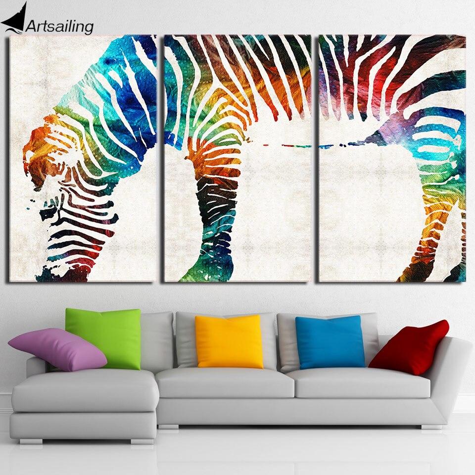 3 Stück HD gedruckt Leinwand Kunst Streamer Farbe Zebra Moderne ...