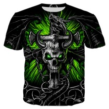 PLstar Cosmos 2019 Summer Men/Women 3d Print Black Demon Skull Tshirt Unisex Casual Tees Tops Plus Size XS-7XL Dropship