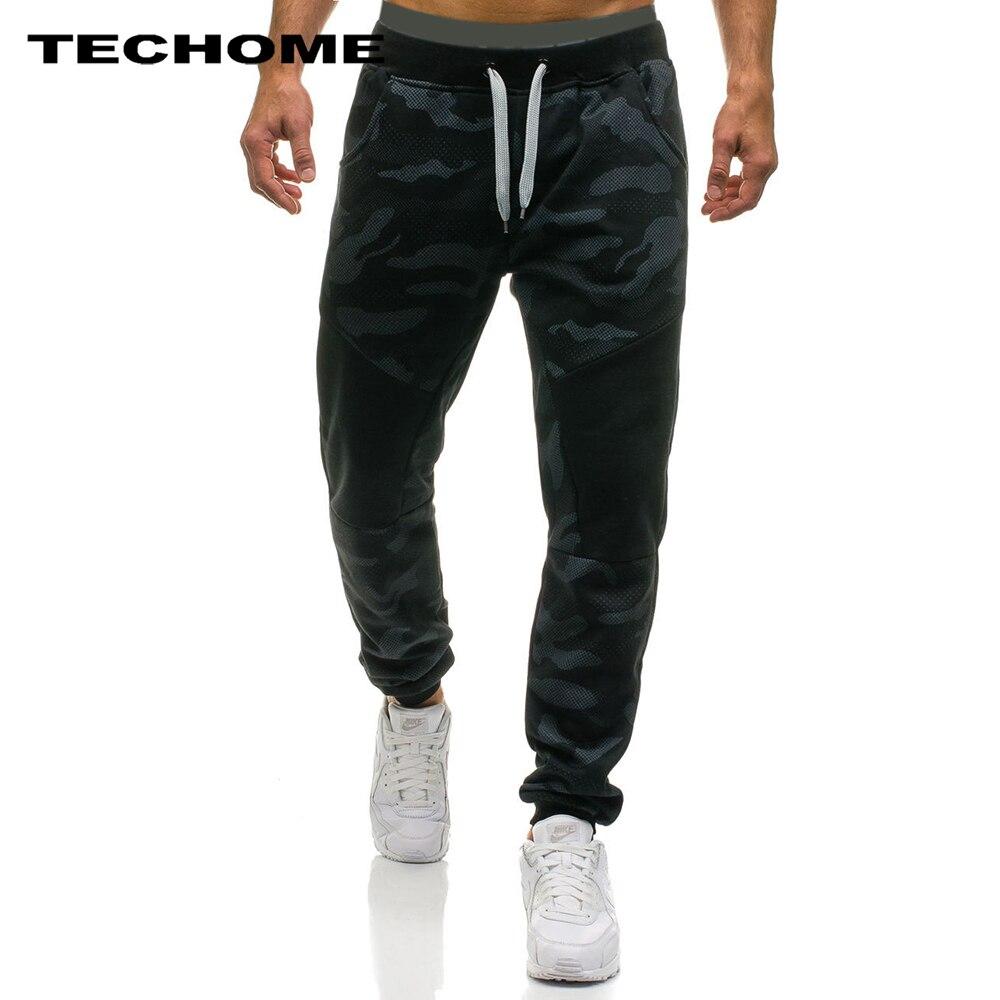 2018 pantalones informales para hombre, Pantalones rectos de marca masculina, pantalones largos de camuflaje, pantalones de chándal de algodón, Jogger, pantalones de chándal Funky XXL