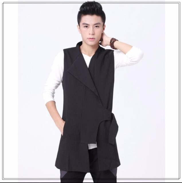 M-5XL New Men fashion irregular stand collar slim non-mainstream vest medium-long croppings vest waistcoat nightclub costumes