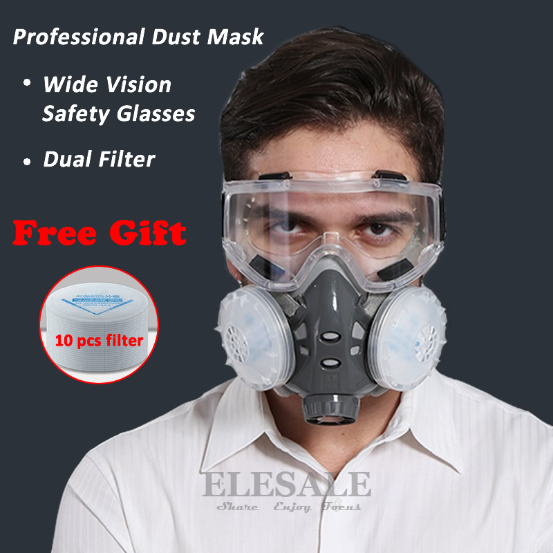 Half Face Respirator Dust Mask With Safety Glasses For Builder Carpenter Daily Haze Protection Work Safety Mask 5 Layer Fliter skull style half face mask old silvery