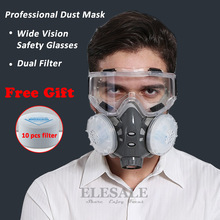 Half Face Respirator Dust Mask With Safety Glasses For Builder Carpenter Daily Haze Protection Work Safety Mask 5 Layer Fliter