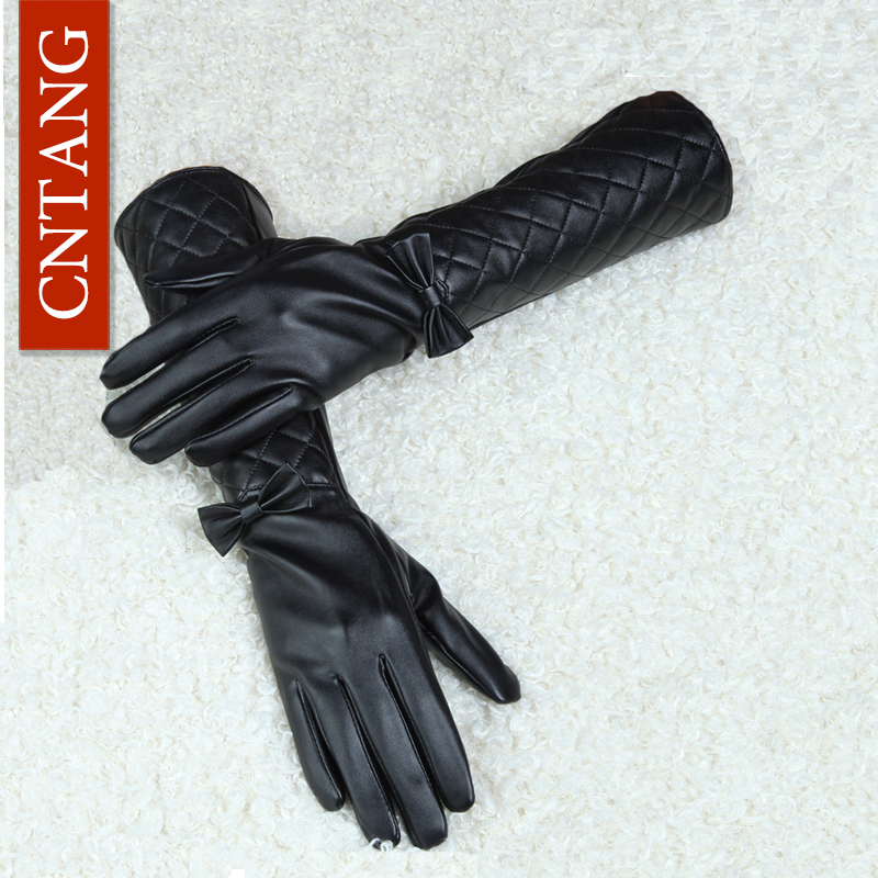 CNTANG Women Long Leather Gloves Nya 2018 Winter Fashion Black Bow Läderhandskar Varm Söt Lång Sektion Kvinna Handskar