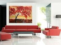 팔레트 나이프 페인트 레드 트리 그림 현대 추상 유화 캔버스 거실 홈 장식 벽 예술 사진