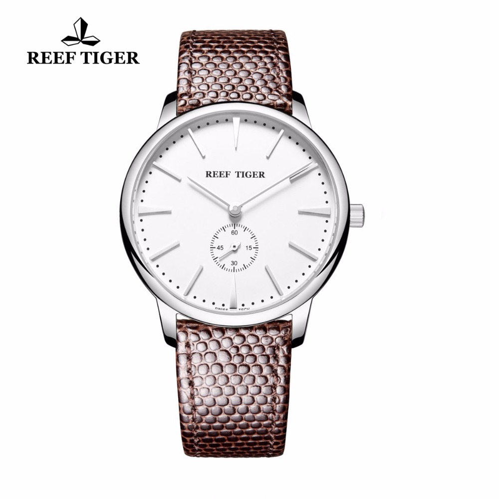 Reef Tiger/RT Simple Style Quartz Watches for Men Casual Couple Watches Ultra Thin Stainless Steel Leather Strap Watch RGA820