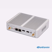 Qotom-M150S Dual LAN Quad core промышленный безвентиляторный X86 Мини-пк ubuntu компьютер OEM