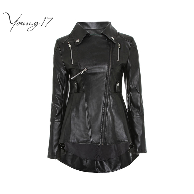 2b1492d2c48 Young17 PU Leather Vintage Gothic Black Jacket Coat Women Spring Winter Zipper  Motorcycle Punk Rock Goth Outerwear Coats