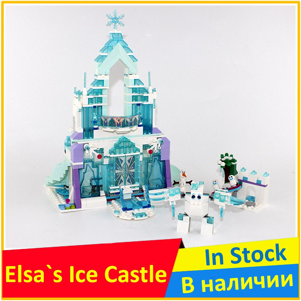 The Elsa`s Magical Ice Castle 41148 Building Blocks Model 25002 Compatible legoes with Pricess Model Toys For Children lepin 25002 731pcs the snow world series the elsa s magical ice castle set building blocks bricks toys girl with gifts 41148