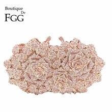 Dazzling Women Gold Rose Flower Hollow Out Crystal Evening Metal Clutches Small Minaudiere Handbag Purse Wedding Box Clutch Bag