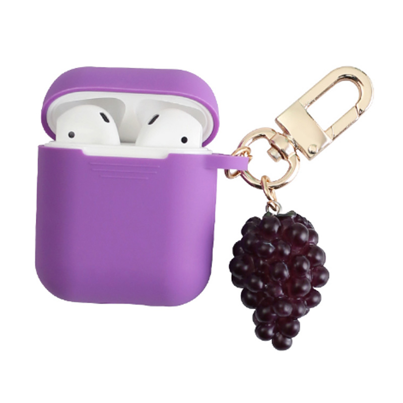 New Grape Decorative Silicone Case for Apple Airpods Cover Bluetooth Earphone Accessories Protective Cover Bag Key Ring in Earphone Accessories from Consumer Electronics