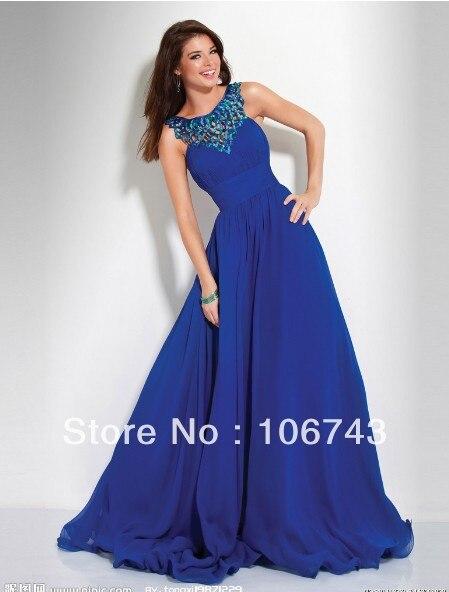 Livraison gratuite 2016 nouveau design vestido formelle robe de soirée robe de soirée bleu royal perlé longue élégante fête robe de bal s