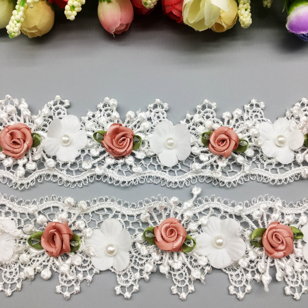 10X Soluble Pearl Rose Flower Wave Embroidered Mesh Lace Trim Ribbon Fabric Sewing Craft For Costume Wedding Dress Decoration
