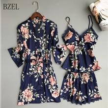 BZEL 3 Pcs Sexy Lace Shorts Robes Floral Satin Silk Women Robe Set Long Sleeve S