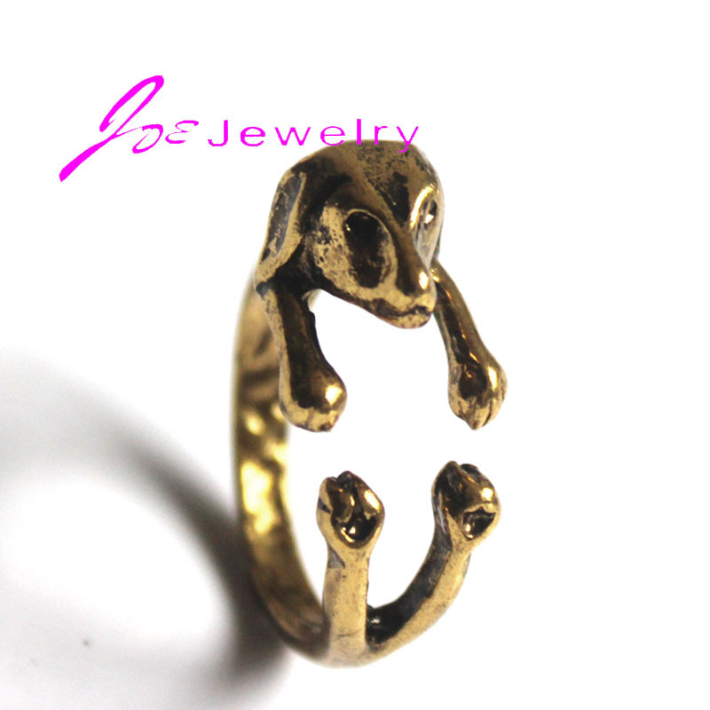 Hot Sale Antique Gold Dog Rings Finger Wrap Rings Adjustable Women Fashion Jewelry wholesale