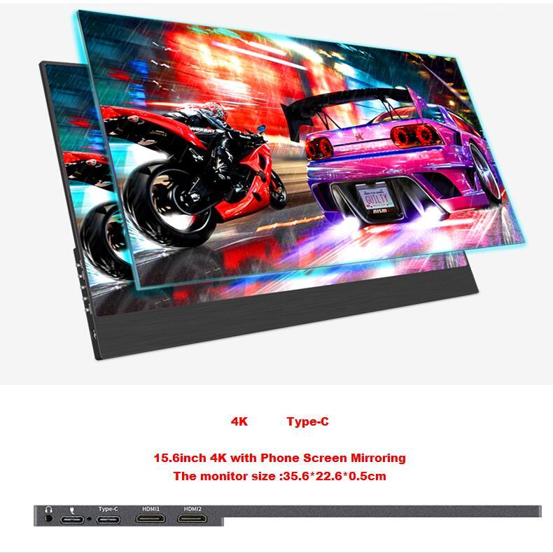 15.6 pouces 4 K type-c écran de téléphone miroir moniteur LCD portable IPS HDR 5mm ultra mince écran LCD pour Mac/PC/smartphone/PS4
