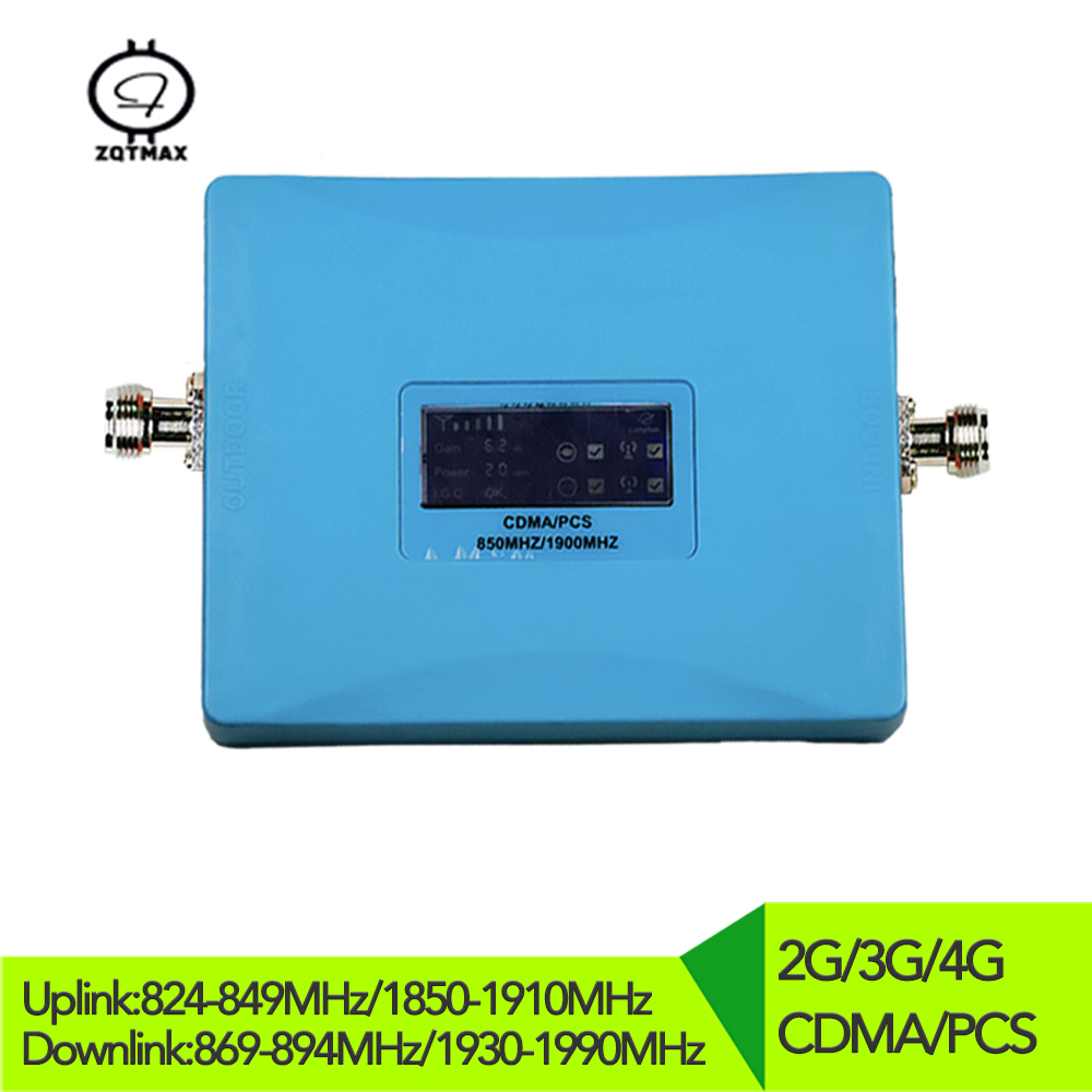 2G 3G 4G 850mhz Cellular Repeater PCS 1900mhz Dual Band Mobile Signal Booster 62dB Gain CDMA Amplifier For Cell Phone Repeater