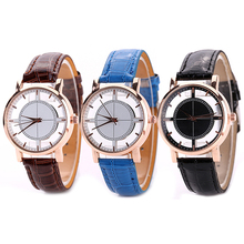 2016 New Arrival Women's Fashion Clear Dial Faux Leather Strap Casual Analog Quartz Wrist Watch 81WG166