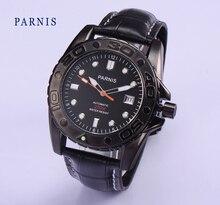 Мода 43 мм Парнис PVD Случае Черный Циферблат Белый Марка Япония Автоматическое Движение Дайвинг Мужские Часы