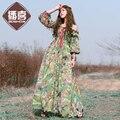 O envio gratuito de 2017 nova moda primavera e verão bohemian chiffon boshow cópia da flor strapless longo maxi mulheres beach dress s-xl