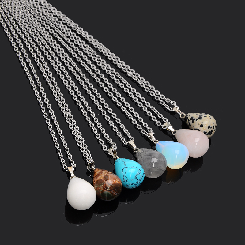 New Fashion Drop Water Charm Necklace Natural Turquoise Opal Crystal Stone Pendants Necklace for Women Fashion Jewelry