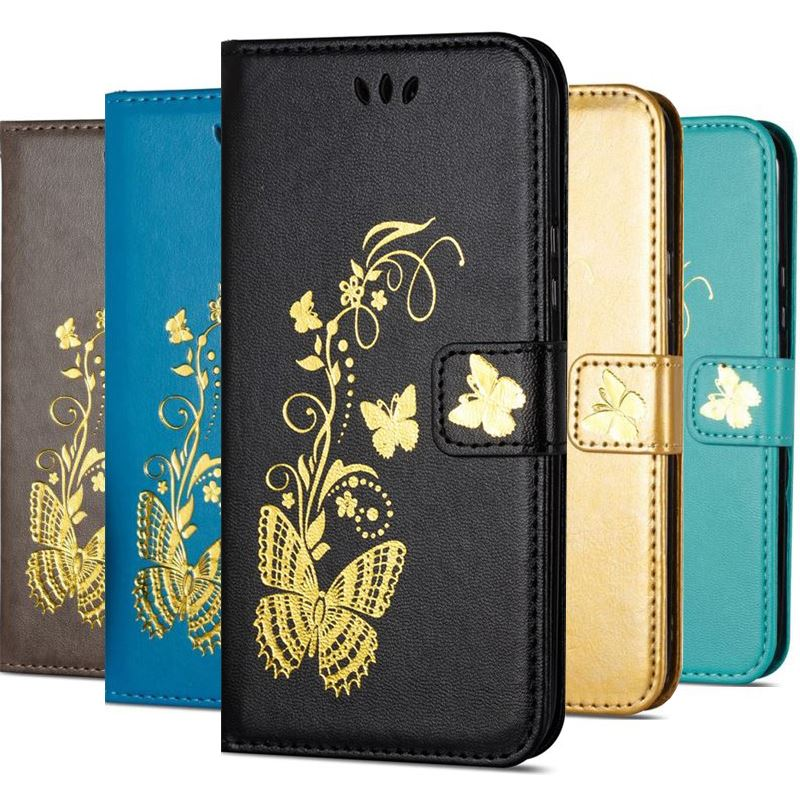 Luxury Golden Butterfly Case For Xiaomi Mi Pocophone F1 Redmi 5 Plus A2 Lite Note 6 Pro Wallet Card Pocket Stand Cover D02G