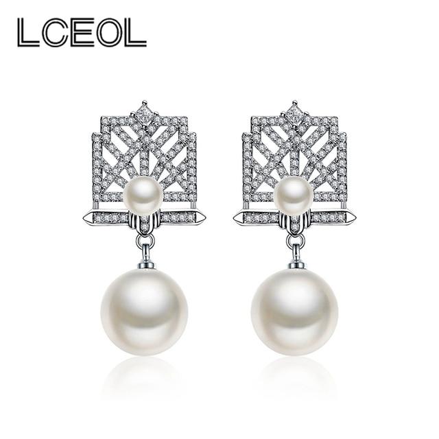 Lceol Famous Brand French Style Square Shape Double Pearl Drop Earring Women Jewelry Earrings Best Gift