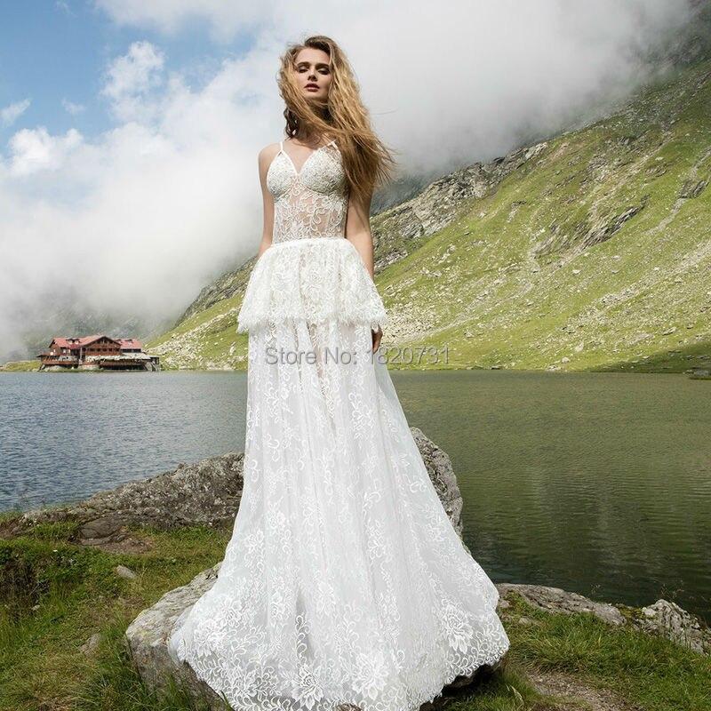 Vestido de noiva Vintage Sxey Spaghetti Straps V-Neck Wedding Dresses Lace Ruffles Zipper A-Line Wedding Gowns Bridal Dresses