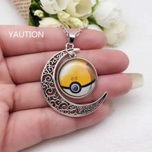 Tibetan Silver Anime Pokemon Pokeball Glass Hollow Moon Shape Pendant Necklace.