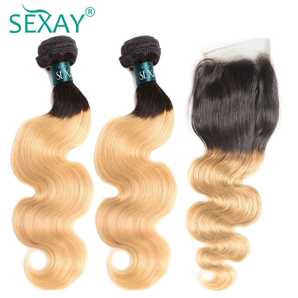 SEXAY Ombre Bundles With Closure 1B/27 100% Human Hair Extension Non Remy Hair Blonde Brazilian Body Wave 2 Bundles With Closure