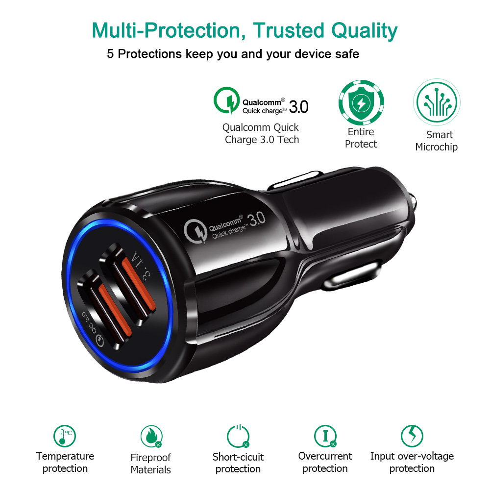 Car Charger Quick Charge 3.0 2.0 Mobile Phone Charger Dual 2 Port 30W Fast Car USB Charger for iPhone Samsung Tablet Car-Charger
