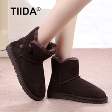 TIIDA Brand Fashion Women Snow Boots Top Quality Genuine Leather Snow Boots Waterproof Warm Winter Boots Women Shoes Ankle Boots